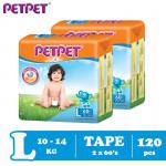 Petpet Tape Diaper Mega Pack -2 pack ( S160 /M144/L120/XL96)