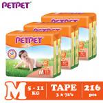 Petpet Tape Diaper Mega Pack- 3 pack (S240/M216/L180/XL144)