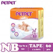 image of Petpet Tape Diaper Jumbo Pack (NB60 /S56/M48/L40/ XL32)