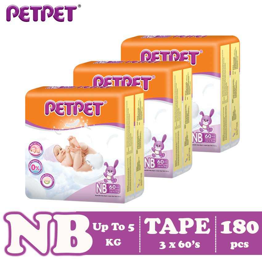 Petpet Tape Diaper Jumbo Pack -3 pack (NB180/S168/M144/L120/XL96)