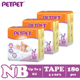 image of Petpet Tape Diaper Jumbo Pack -3 pack (NB180/S168/M144/L120/XL96)