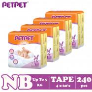 image of Petpet Tape Diaper Jumbo Pack-4 pack (NB240 /S224/M192/L160/ XL128)