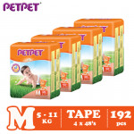 Petpet Tape Diaper Jumbo Pack-4 pack (NB240 /S224/M192/L160/ XL128)