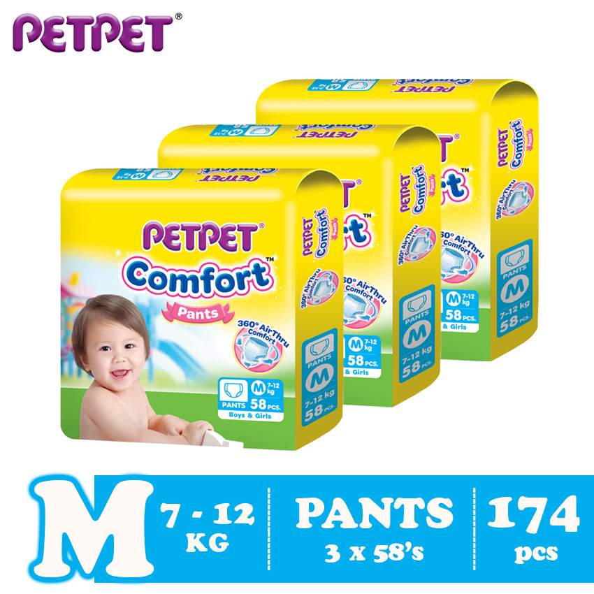image of Petpet Comfort Pants Jumbo Pack -3 pack (M174/ L138/XL120/XXL102)