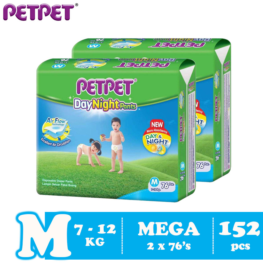 image of Petpet DayNight Pants Mega Pack- 2 pack (M152/L132 / XL112/XXL96)