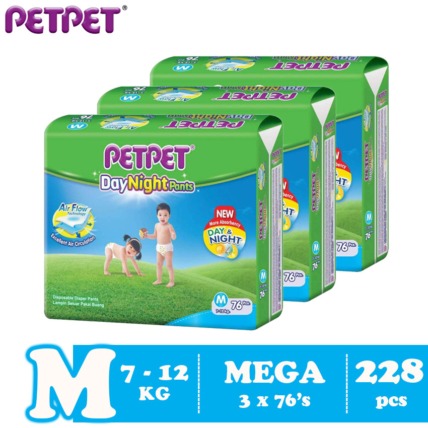 image of Petpet DayNight Pants Mega Pack-3 pack (M228/L198 / XL168/XXL144)