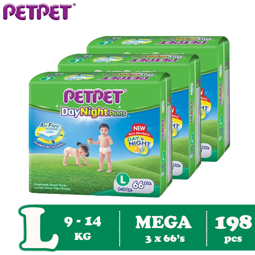 Petpet DayNight Pants Mega Pack-3 pack (M228/L198 / XL168/XXL144)