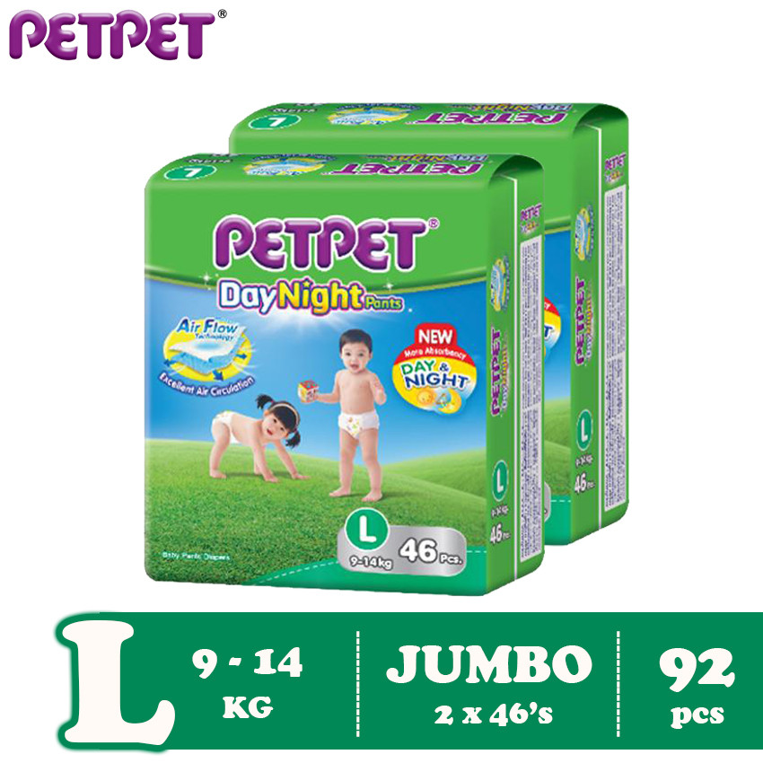 Petpet DayNight Pants Jumbo Pack -2 pack ( M108/L92 / XL80/XXL64 )