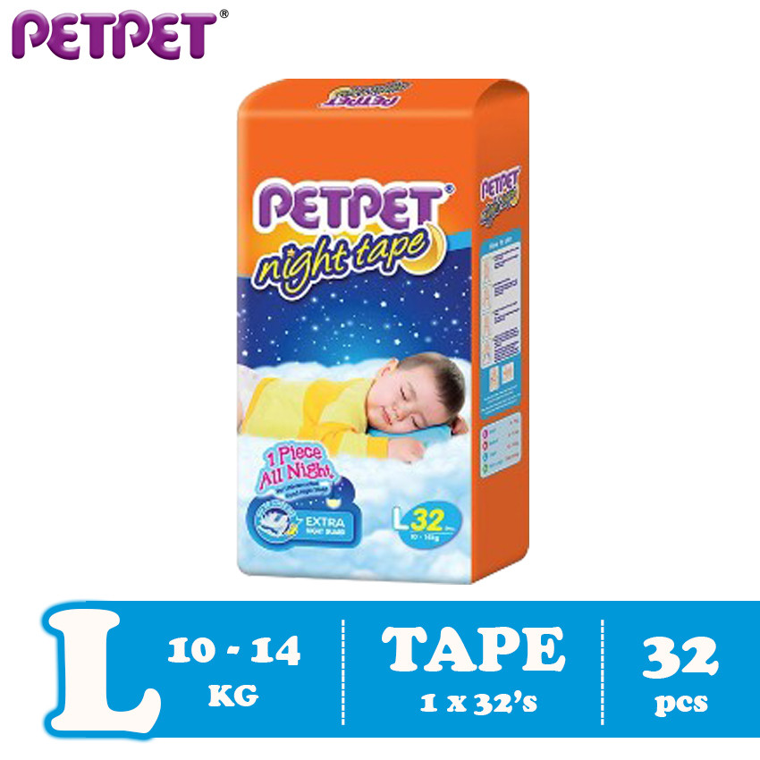Petpet Night Tape Jumbo Pack (S42/M40/L32/XL30)