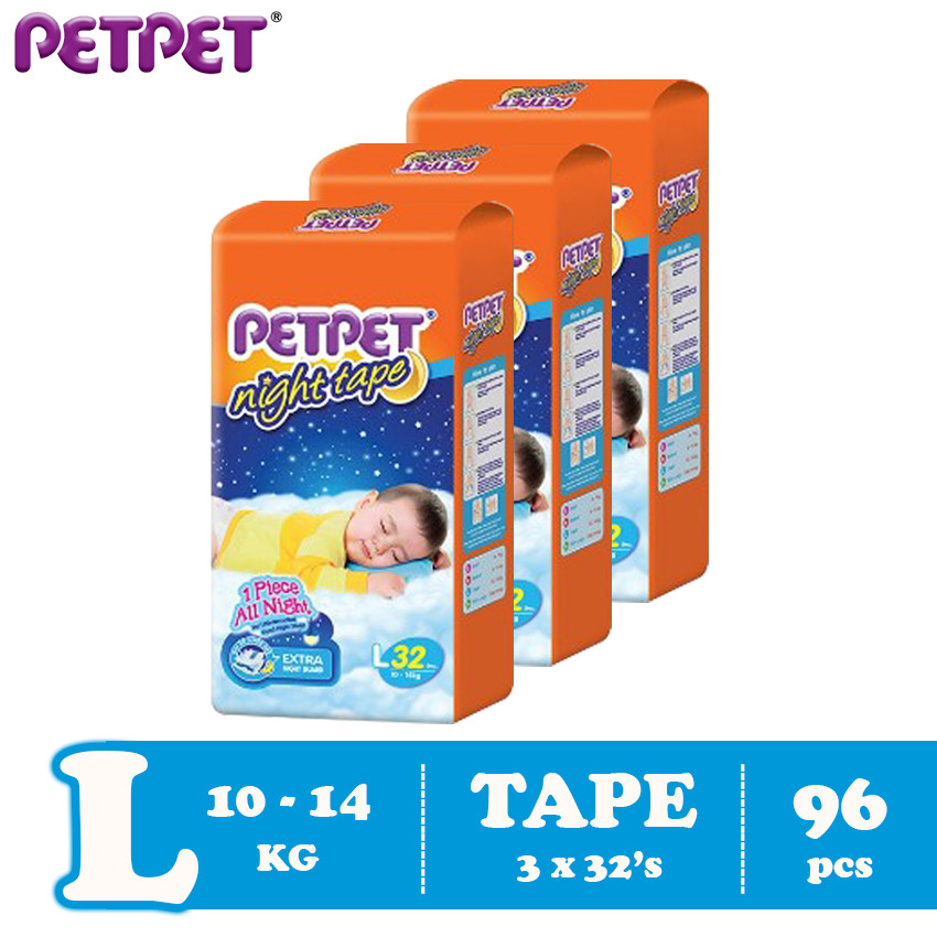 Petpet Night Tape Jumbo Pack -3 pack ( S126/M120 / L96/XL90 )
