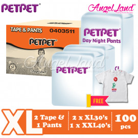 image of PetPet 2x E-Mega Tape (XL30) + 1x Daynight Pants Diaper (XXL40) FOC Poney Shirt [Exclusive]