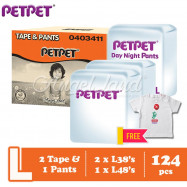 image of PetPet 2x E-Mega Tape (L38) + 1x Daynight Pants Diaper (L48) FOC Poney Shirt [Exclusive]