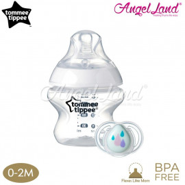 image of Tommee Tippee Closer To Nature Bottle 150ml/5oz With Soother 0-2m - 422636/38