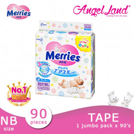 image of Merries Tape Diapers Jumbo Pack NB90/S82/M64/L54/XL44 (1 Pack)