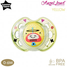 image of Tommee Tippee Closer to Nature Air Style Soother - 1pk (433375/38 / 433377/38) Yellow - 433375/38 (0-6m)