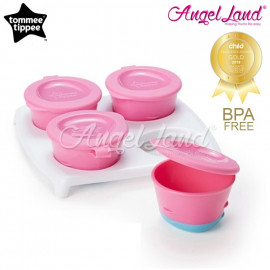 image of Tommee Tippee Pop Up Freezer Pots With Tray 446500/38 - Pink