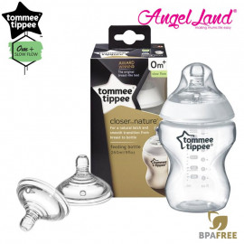 image of Tommee Tippee Closer To Nature PP Bottle 260ml - 421113/38 + Tommee Tippee Teat (2pcs/pack)  Y Flow Teat