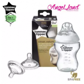 image of Tommee Tippee Closer To Nature PP Bottle 260ml - 421113/38 + Tommee Tippee Teat (2pcs/pack) Fast Flow Teat