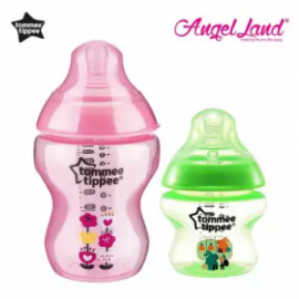 image of Tommee Tippee Closer To Nature Tinted Bottle (5oz/150ml + 9oz/260ml) magenta + green