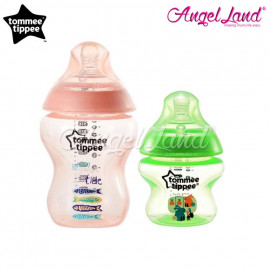 image of Tommee Tippee Closer To Nature Tinted Bottle (5oz/150ml + 9oz/260ml) peach + green