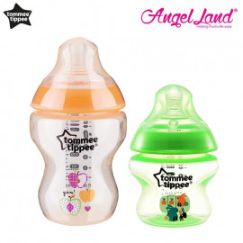 image of Tommee Tippee Closer To Nature Tinted Bottle (5oz/150ml + 9oz/260ml) orange + green