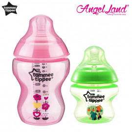 image of Tommee Tippee Closer To Nature Tinted Bottle (5oz/150ml + 9oz/260ml) pink + green
