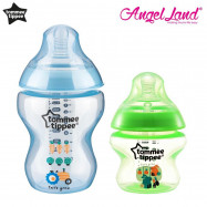 image of Tommee Tippee Closer To Nature Tinted Bottle (5oz/150ml + 9oz/260ml) blue + green