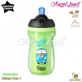 image of Tommee Tippee Insulated Straw Cup 266ml (12m+) Green Bus
