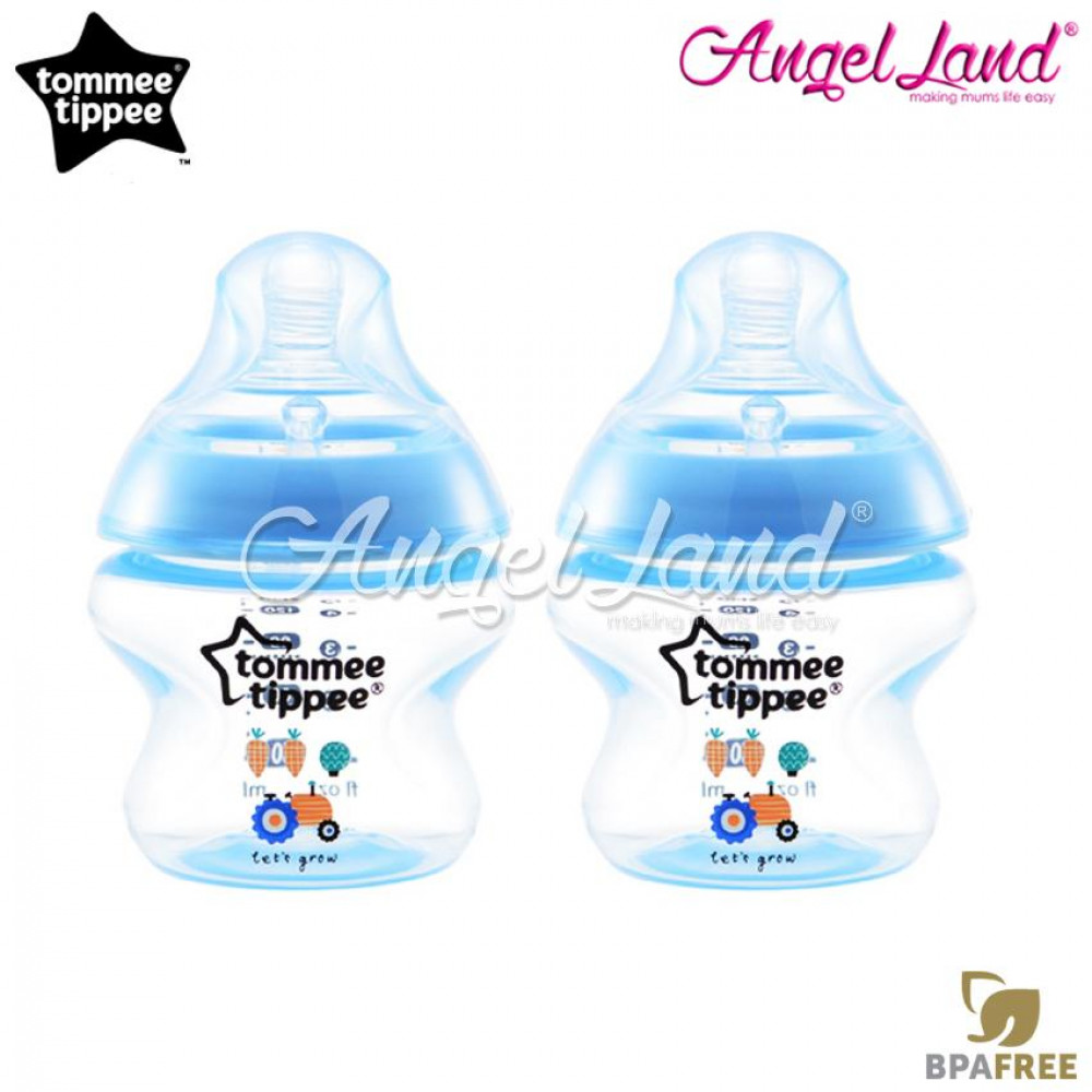 Tommee Tippee Closer to Nature Tinted Bottle 150ml (5oz) x2 Blue