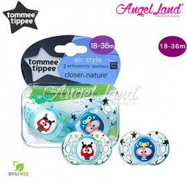 image of TommeeTippee Closer To Nature 2pk Air Soother 18-36m With Case pink/purple - 433403/38