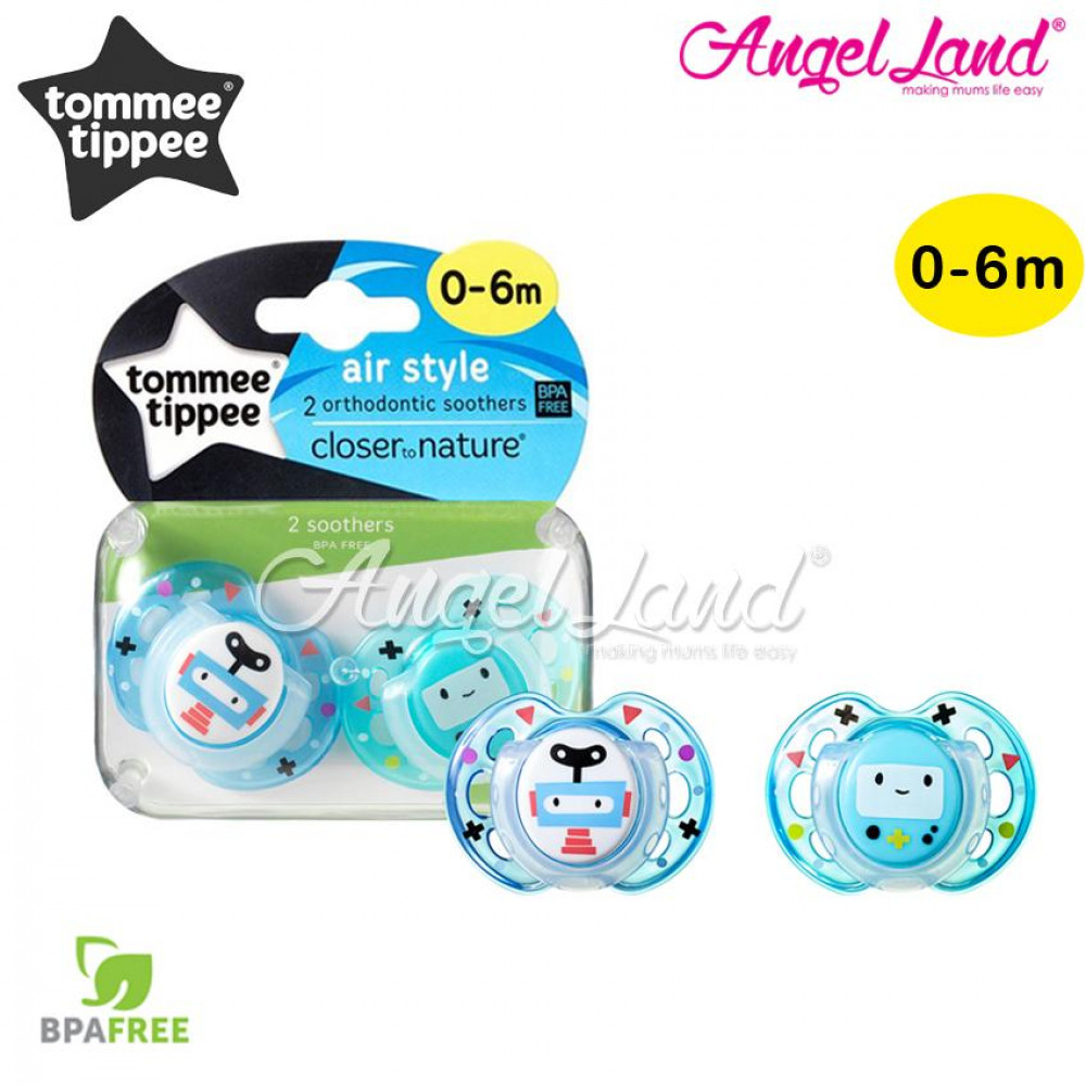 Tommee Tippee Closer To Nature 2pk Air Soother 0-6m With Case blue robot