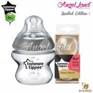 image of Tommee Tippee CTN Tinted Bottle 150ml/5oz + Tommee Tippee CTN Teat - Silver 422535/38 + Y Flow 422142/38