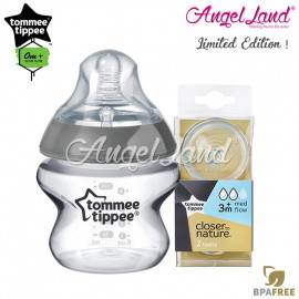 image of Tommee Tippee CTN Tinted Bottle 150ml/5oz + Tommee Tippee CTN Teat - Silver 422535/38 + Med Flow 421122/38