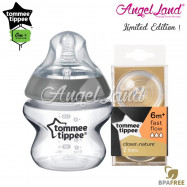 image of Tommee Tippee CTN Tinted Bottle 150ml/5oz + Tommee Tippee CTN Teat - Silver 422535/38 + Fast Flow 421124/38