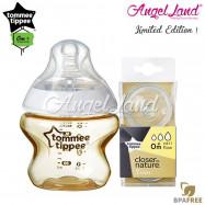 image of Tommee Tippee CTN Tinted Bottle 150ml/5oz + Tommee Tippee CTN Teat - Gold 422534/38 + Vari Flow 422140/38