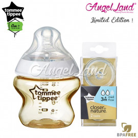 image of Tommee Tippee CTN Tinted Bottle 150ml/5oz + Tommee Tippee CTN Teat - Gold 422534/38 + Med Flow 421122/38
