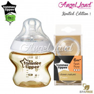 image of Tommee Tippee CTN Tinted Bottle 150ml/5oz + Tommee Tippee CTN Teat - Gold 422534/38 + Fast Flow 421124/38