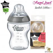 image of Tommee Tippee CTN Tinted Bottle 260ml/9oz + Tommee Tippee CTN Teat - Silver 422535/38 + Y Flow 422142/38