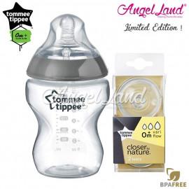 image of Tommee Tippee CTN Tinted Bottle 260ml/9oz + Tommee Tippee CTN Teat - Silver 422535/38 + Vari Flow 422140/38