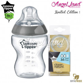 image of Tommee Tippee CTN Tinted Bottle 260ml/9oz + Tommee Tippee CTN Teat - Silver 422535/38 + Med Flow 421122/38