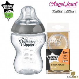 image of Tommee Tippee CTN Tinted Bottle 260ml/9oz + Tommee Tippee CTN Teat - Silver 422535/38 + Fast Flow 421124/38