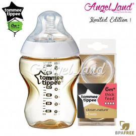 image of Tommee Tippee CTN Tinted Bottle 260ml/9oz + Tommee Tippee CTN Teat - Gold 422532/38 + Y Flow 422142/38