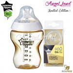 Tommee Tippee CTN Tinted Bottle 260ml/9oz + Tommee Tippee CTN Teat - Gold 422532/38 + Vari Flow 422140/38