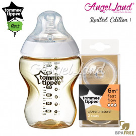 image of Tommee Tippee CTN Tinted Bottle 260ml/9oz + Tommee Tippee CTN Teat - Gold 422532/38 + Fast Flow 421124/38