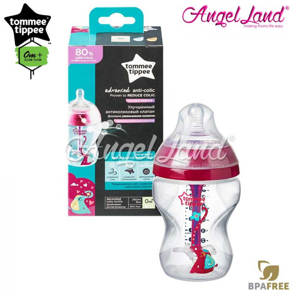 Tommee Tippee Closer To Nature Anti Colic Plus Single Bottle - 260ml/9oz - Pink 422656/38