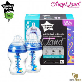 image of Tommee Tippee Closer To Nature Anti Colic Plus Twin Pack Bottles - 260ml/9oz Blue 422657/38