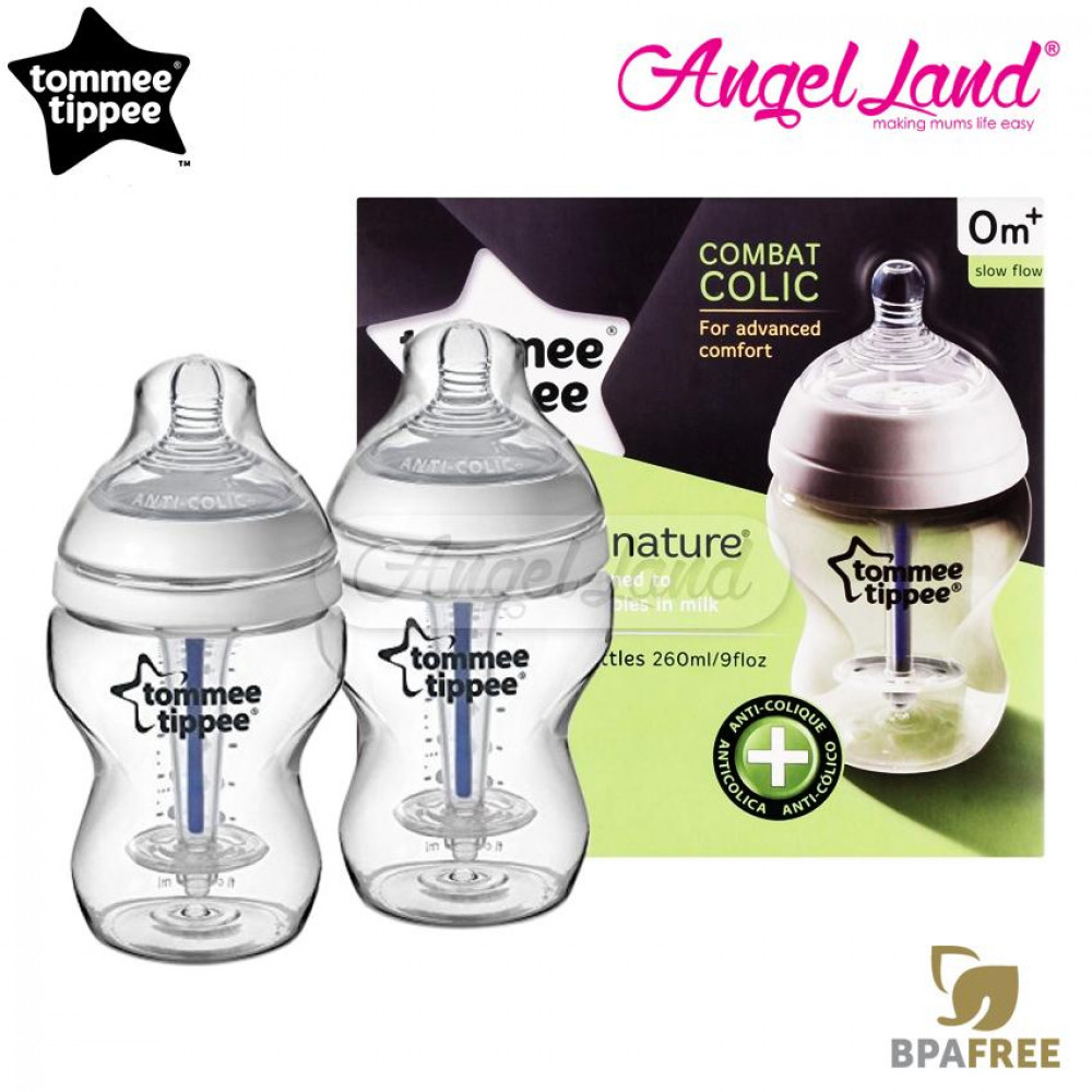 Tommee Tippee Closer To Nature Anti Colic Plus Twin Pack Bottles - 260ml/9oz Clear 422525/38