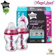 image of Tommee Tippee Closer To Nature Anti Colic Plus Twin Pack Bottles - 260ml/9oz Pink 422658/38