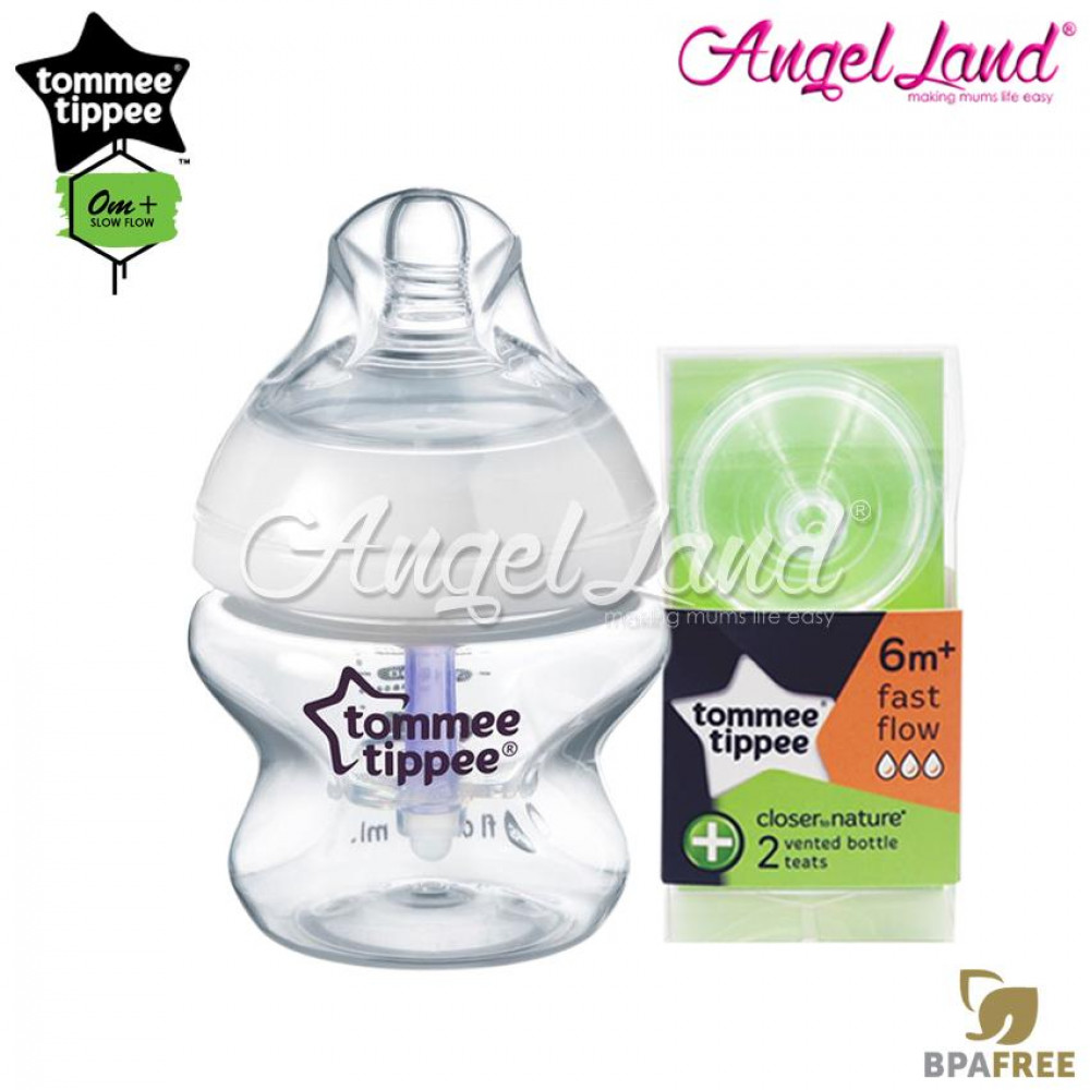 Tommee Tippee Closer To Nature PP Anti Colic Plus Bottle 150ml 5oz Single Pack 422405/38+ Tommee Tippee CTN Anti-Colic Teat (2pcs/pack) Fast Teat