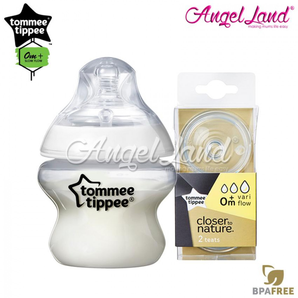 Tommee Tippee Closer To Nature PP Bottle 150ml 421111/38 + Tommee Tippee CTN Teat (2pcs/pack) 150ml / 5oz 421111/38 + Vari Flow 422140/38